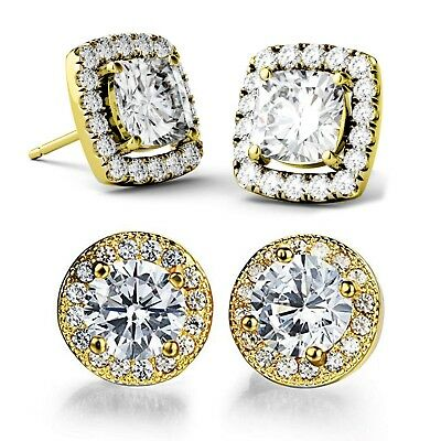 0.80Ct Created Crystal Square Halo Stud Earrings 14k White Gold Plated Studs