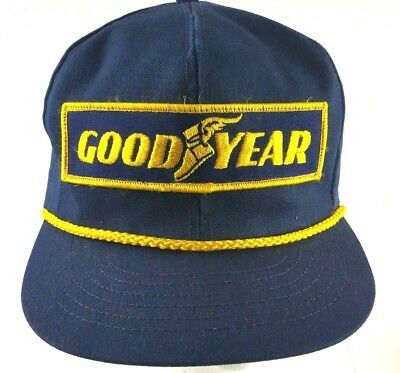Vintage Hat Cap Goodyear #1 Racing Snapback Patch Gold Rope Made USA