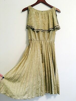 VINTAGE 70s METALLIC Pleated Goddess dress greek roman VTG metallic party