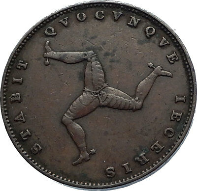 1839 ISLE of MAN Antique COPPER FARTHING Coin TRISKELES Queen Victoria i71832