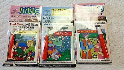 Lot of 3 NEW Yes & Know Bible Invisible Ink Games & Story Book. Coloring book!
