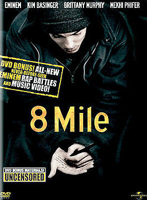 8 Mile Widescreen DVD Eminem Kim Basinger Bonus Rap Battles 2001 Used