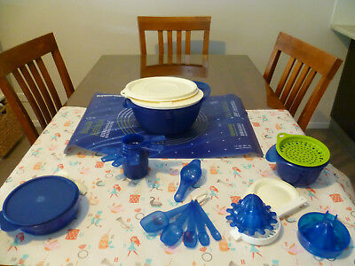 Bulk Lot of Tupperware,baking,kitchen utensils, juicer,grater,etc GUC,blue/white