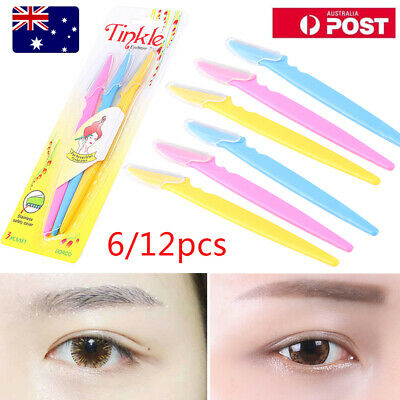 6/12pcs Tinkle Eyebrow Face Razor Trimmer Shaper Shaver Blade Hair Remover Tool