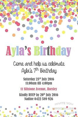 Confetti Birthday Party Invite Invitation Personalised Free Magnet
