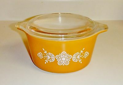 964~Vintage Pyrex Butterfly Gold Cinderella Nesting Mixing Bowl w/Lid 1 Qt**
