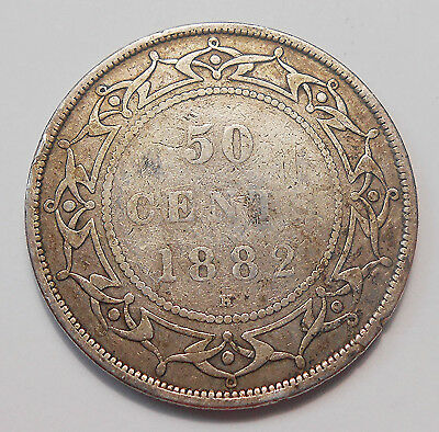 1882H Newfoundland Fifty Cents VG ** NICE Queen Victoria Early SILVER Nfld. Half