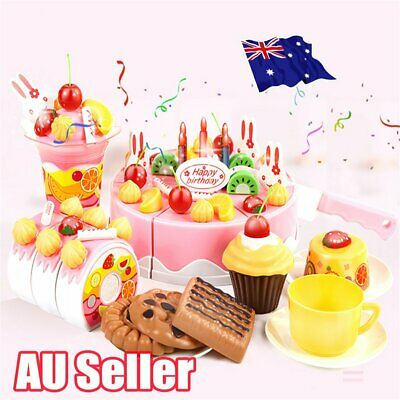 Pretend Role Cake Play Kitchen Birthday Food Cutting Kids Toy HOT EA