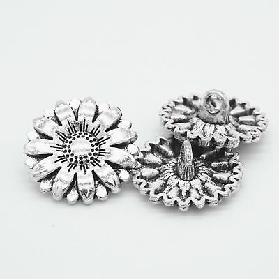5Pcs Metal Sunflower Carved Antique Sewing Craft DIY Silver Charms Shank Buttons