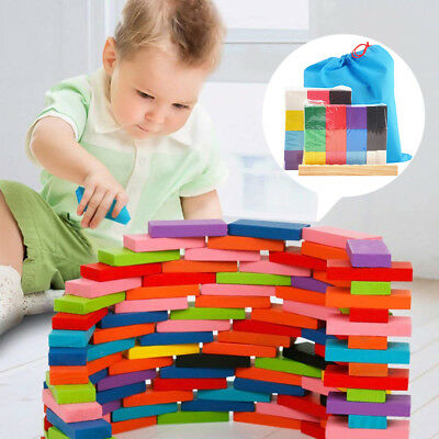 240/480Pcs Wooden Coloured Tumbling Dominoes Family Games Kid Play Toy Xmas Gift