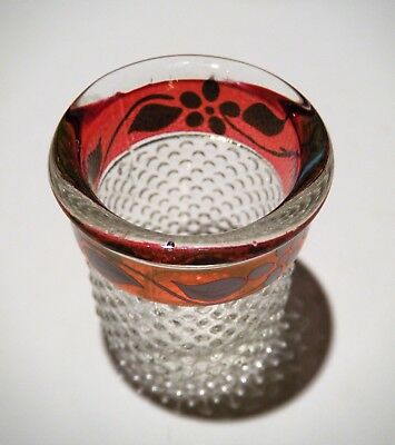 Vintage WESTMORELAND SHOT GLASS, THIMBLE, Clear + Ruby Hobnail, Original Label!