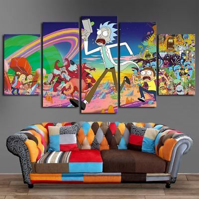 Home Decor Picture Cartoon Rick And Morty Canvas Prints Painting Wall Art 5PCS