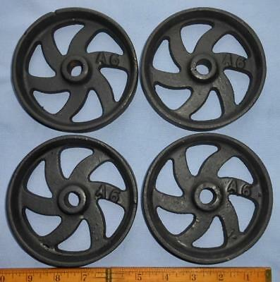"Set 4 Antique Hit Miss Gas Engine Cast Iron Curved Spoke Cart Wheels 4.75"" X 1"""