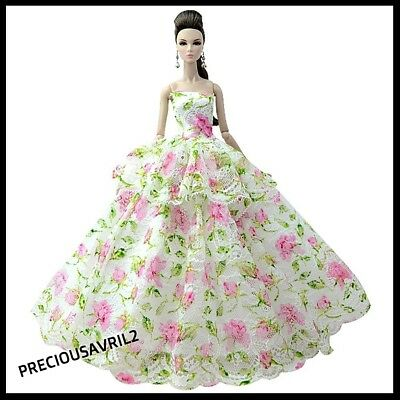 Brand new barbie doll clothes outfit princess wedding floral evening dress