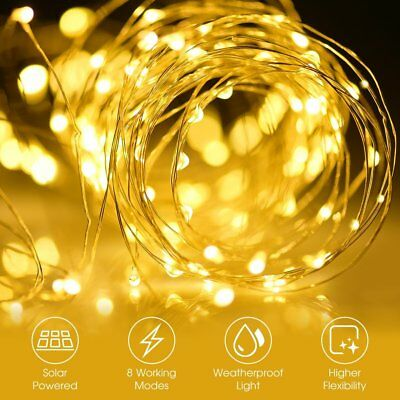 12M 100LED Solar Outdoor String Rope Lights Copper Wire Fairy Xmas Party Decor