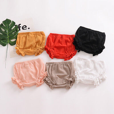 AU New Baby Infant Girls Ruffle PP Pants Bloomer Nappy Diaper Cover Brief Shorts