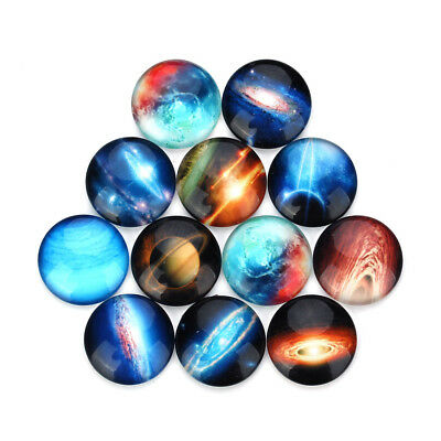 12X Galaxy Space Glass Dome Cabochon 25mm DIY Accessories Dome Flatback Findings