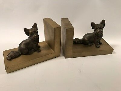 VTG Antique Cast Metal Scottie Bookends Dog Made in Italy A62a
