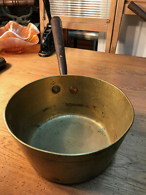 Antique English Brass Saucepan with Cast Iron Handle Country Kitchen Display