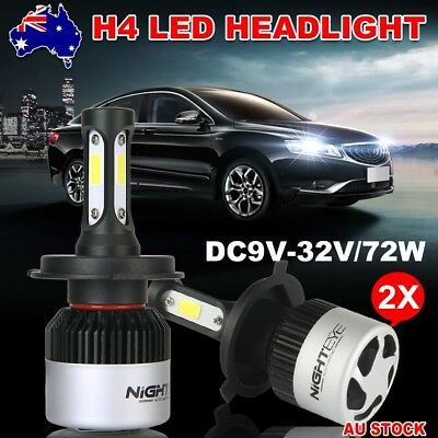 Nighteye 72W 9000LM HB2 LED Headlight Kit Hi/Lo H4 Beam Globe Bulbs White 6500K