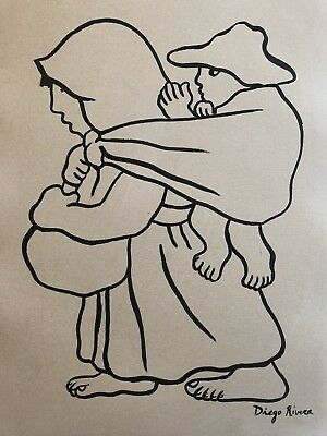 Diego Rivera Ink Drawing