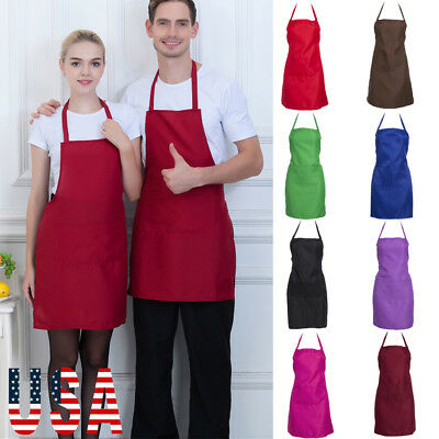 US Women Men Chef Restaurant Bib Apron with Pockets Cooking Kitchen Adjustable