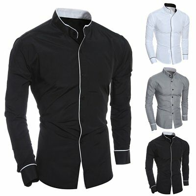 Men Long Sleeve Button Down T-shirt Tops Slim Fit Casual Dress Formal Shirts US