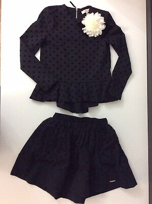 Twin Set Girls Outfit, Set, Size Age 10, 140 Cm, Skirt & Top, Black Vgc