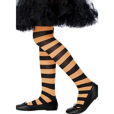 Girl's Children's Stripey Tights Halloween Witch Fancy Dress Accessory Age 6-12