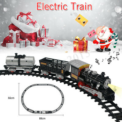 Christmas Classic Train  Musical Carriage Tree Kids Toy Flash Light Sound Track