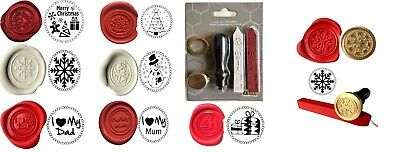 Christmas Wax Stamp Seal Complete KIT + 2 Melting Wax Sticks KIT+ design choices