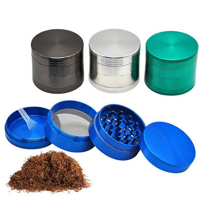 4 Piece Magnetic 2 inch Tobacco Herb Grinder Spice Aluminum With Scoop Black