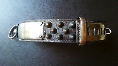 Antique Dog Collar Brass Leather 1800s Bullet Studs 19th Century French Old Rare