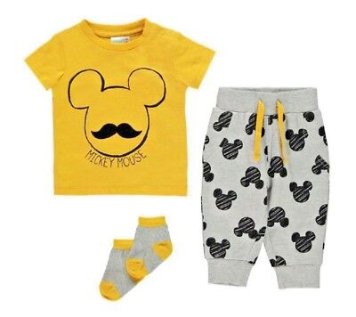 NEW Baby Boys Disney Jogger Set Age 12 18 Months Mickey Mouse 3 Piece Outfit NWT