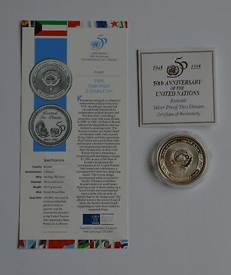 1995 Kuwait Silver Proof Two Dinars United Nations 50th Anniversary Coin COA