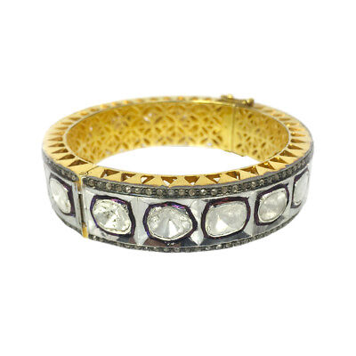 Victorian Style Polki Diamond Bangle 925 Silver Gift For Her Jewelry BT101