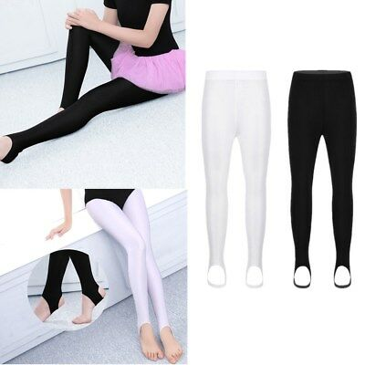 Girls Children Kids Stirrup Tights Dance Gymnastics Shiny Pantyhose Stockings