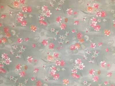 Vintage Royale Queen Sz Fitted Sheet Sage Green  Pink Floral