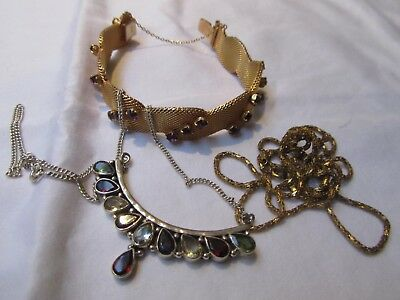 Job Lot vintage Jewellery silver rolled gold paste necklace bracelet