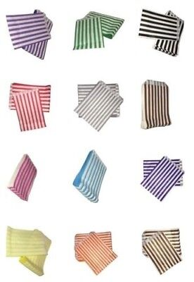 """100 Large 5"""" x 7"""" Stripes Candy Paper Sweet Buffet Cart Bags Colured New"""