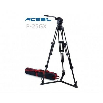 Acebil P-25G Professional Video Tripod Kit with Ground Spreader - 9Kg Payload