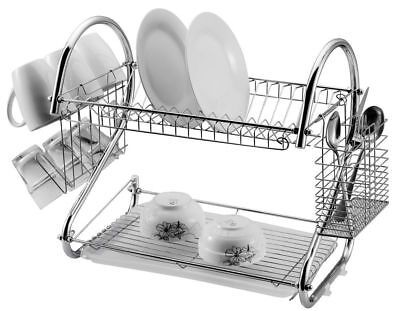 2 Tier Dish Drainer Rack Storage Chrome Tray Sink Drying Wired Draining Plate