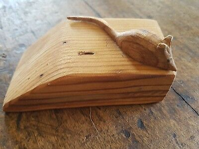 Victorian pine over 100 years old -- door stop / wedge with hand carved mouse 1
