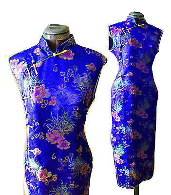 VTG 100% SILK Asian Floral Botanical  Embroidered Long WIggle cocktail dress L