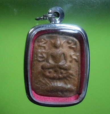 Hot Old Amulet Thai Lp Parn With Siamese Fighting Fish Hot Pendant