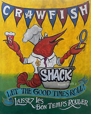 Crawfish Shack /Boil  Print vintage  style  chesapeake bay carolina seafood