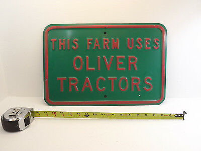 Oliver Tractor steel Sign -Vintage EXC cond deere red
