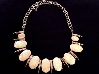 Pretty Iridescent Yellow Accents Gold Tone Necklace  - 8290
