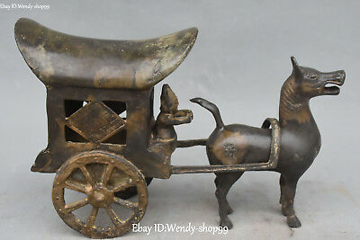 Old China Bronze Ware Ancient Carriage Horse Car Coach Cab Flower Man Statue