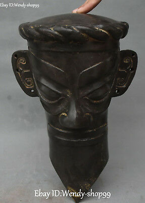 "12"" Unique Bronze Ware Ancient Older People Man Person Masks Wall Hanging Helmet"
